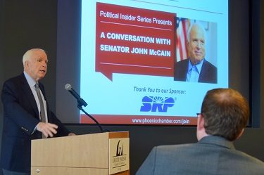 U.S. Sen. John McCain speaks to an audience of business and community leaders Aug. 16 during the Greater Phoenix Chamber of Commerce Political Insider event.