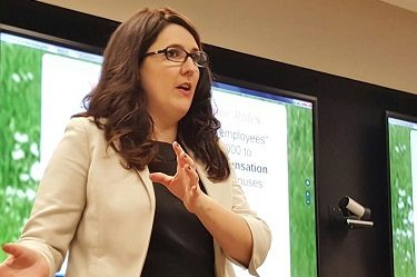 Snell & Wilmer employment law attorney Ashley Kasarjian provides tips to employers on complying with new federal labor laws on Oct. 18. (Photo by Josh Coddington/GPCC)