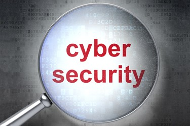 Protection concept: magnifying optical glass with words Cyber Security on digital background, 3d render