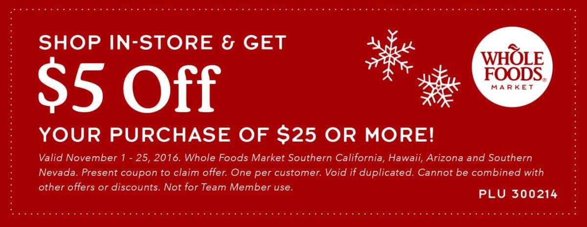 Whole Foods Holiday Dinner Coupon