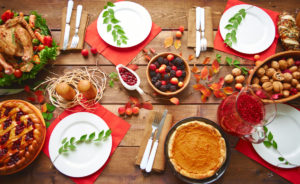 Thanksgiving table setting food