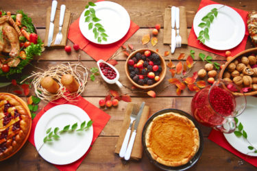 Thanksgiving table setting food