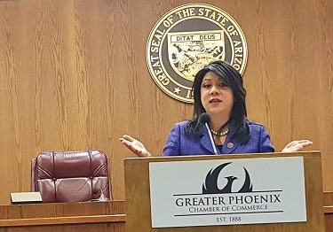 Sen. Kimberly Yee speaks during the Greater Phoenix Chamber of Commerce Capitol Conversations event Dec. 8 at the Arizona State Capitol. (Photo by Josh Coddington/GPCC)