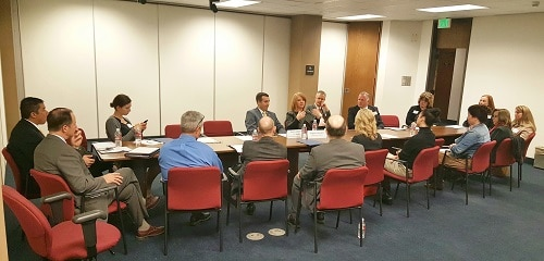 Reps. Heather Carter and T.J. Shope discuss economic development in a breakout group session during the GPCC Capitol Conversations event Dec. 8 at the Arizona State Capitol. (Photo by Josh Coddington/GPCC).