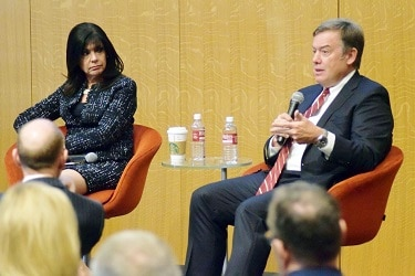 Chancellor Maria Harper-Marinick of Maricopa County Community College District and ASU President Michael Crow discussed the economy and education during Valley Voices presents The Intersection of Higher Education and the Economy on Jan. 24. (Photo by Ashley McKnightGPCC)
