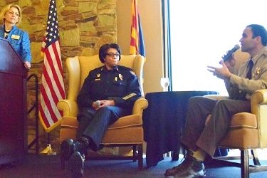 Maricopa County Sheriff Paul Penzone discusses his approach to law enforcement with Phoenix Police Chief Jeri Williams during a Greater Phoenix Chamber of Commerce Premier Leadership Series event on Feb. 23.